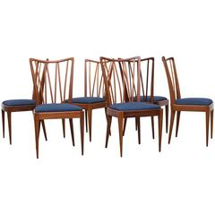 Set of Six Decorative High Back Dining Chairs by A.A. Patijn, 1960, Netherlands