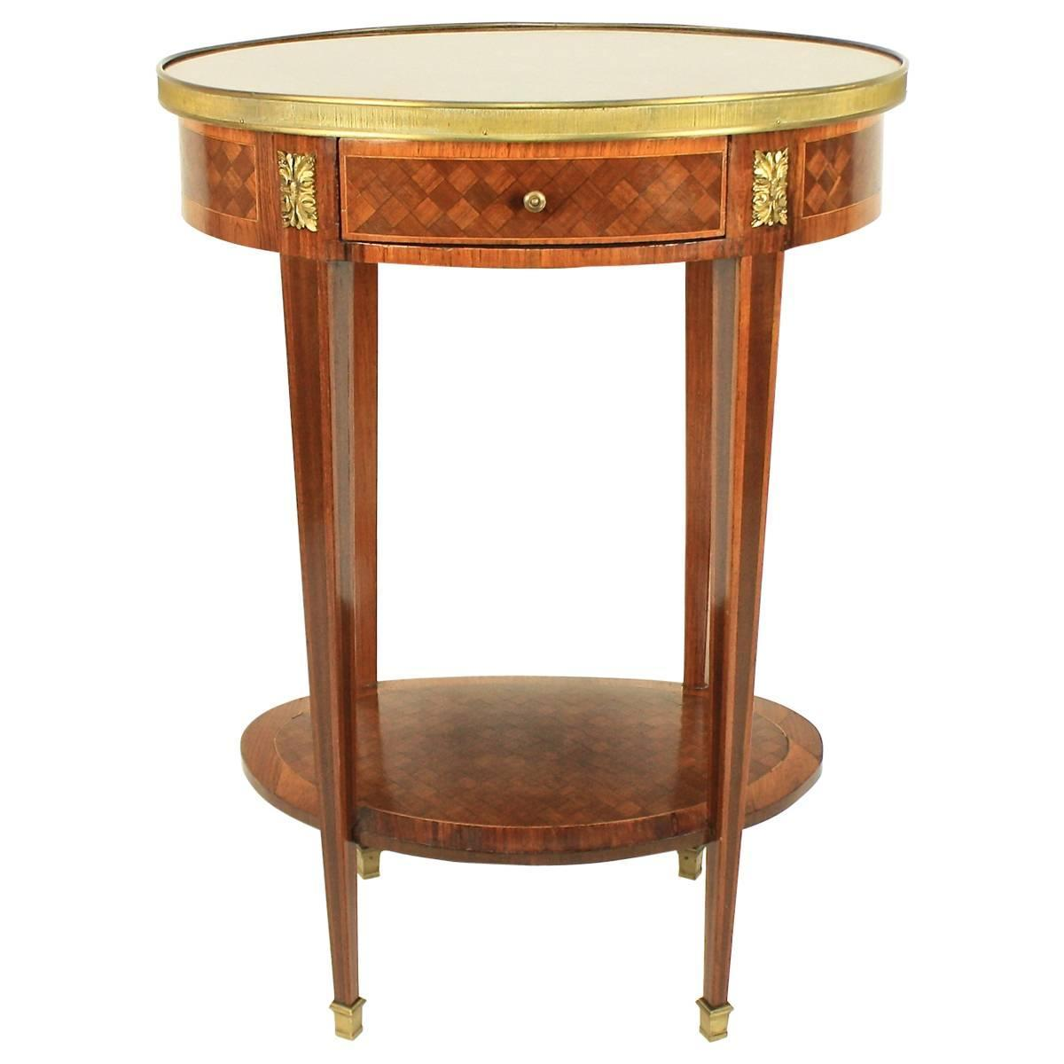 Red Marble Top : Th century bronze mounted marquetry oval side table with