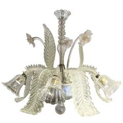 Early 20th Century Clear Glass Chandelier Made by Barovier & Toso