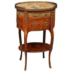 20th Century French Inlaid Nightstand in Rosewood