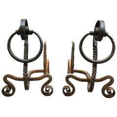 Pair of Early American Serpentine Scrolled and Twisted Andirons