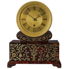 Regency Period Red Tortoiseshell and Brass Inlaid Boulle Mantel Clock