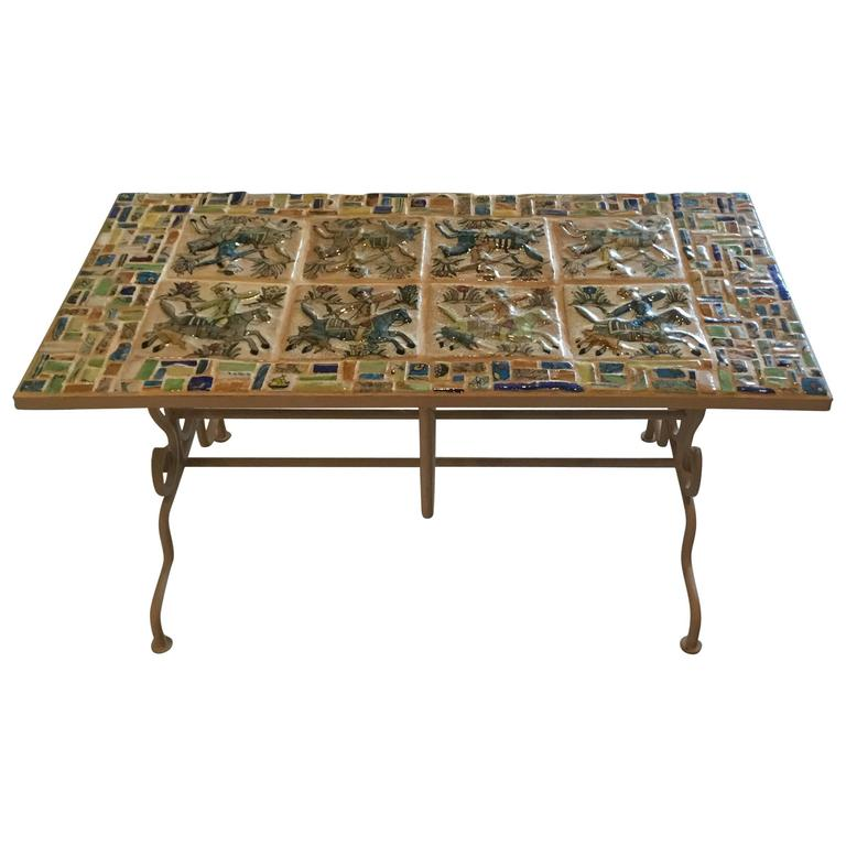 One of a Kind Persian Tile Coffee Table For Sale at 1stdibs
