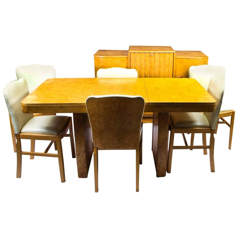 Antique Art Deco Bird's Eye Maple Dining Suite Set circa