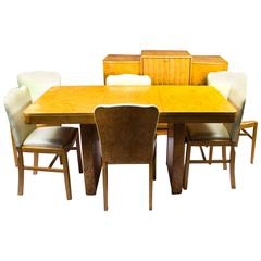 Antique Art Deco Bird's-Eye Maple Dining Suite Set, circa 1930