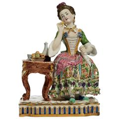 Late 19th Century Porcelain Figure of a Seated Young Lady
