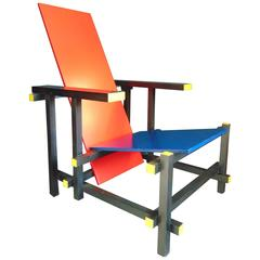 Red and Blue Chair by Gerrit Rietveld for Cassina, Vintage, 1970s