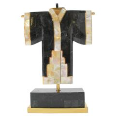 Solid Marble, Brass and Capiz Sculptural Kimono Table Lamp, 1980s, USA