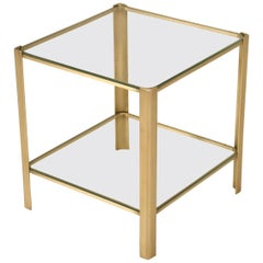 French Mid-Century Modern End or Side Table in Solid Bronze