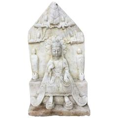 China Older Marble Carving of Buddha with Flying Apsaras Angels Overhead