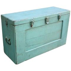 Tall Blue Painted Tool Chest, American, Mid-20th Century