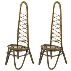 French Rattan Pair of Chairs
