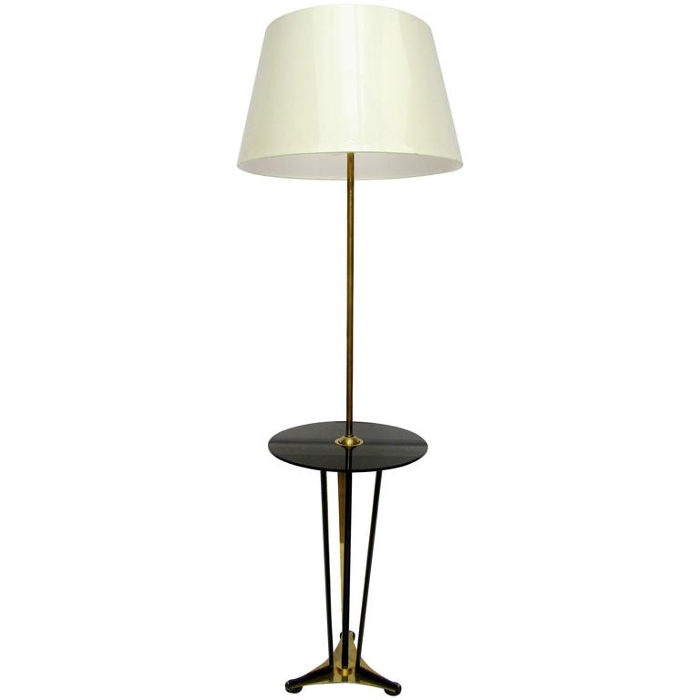 items similar to french 1950s floor lamp with attached opaline table. Black Bedroom Furniture Sets. Home Design Ideas