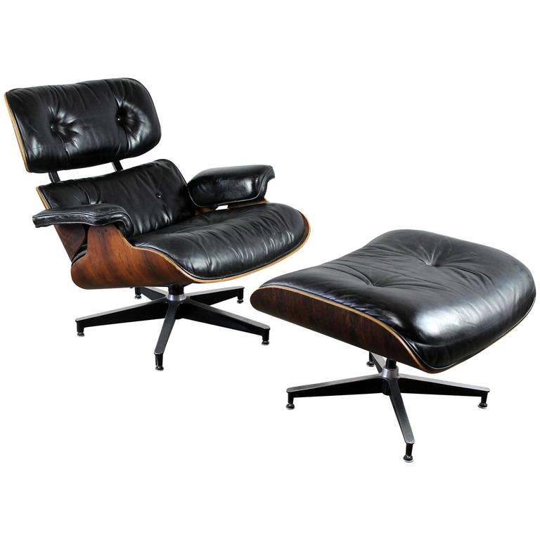vintage herman miller eames lounge chair and ottoman in black