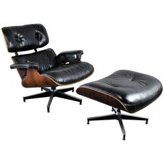 Vintage Herman Miller Eames Lounge Chair & Ottoman in Black Leather & Rosewood