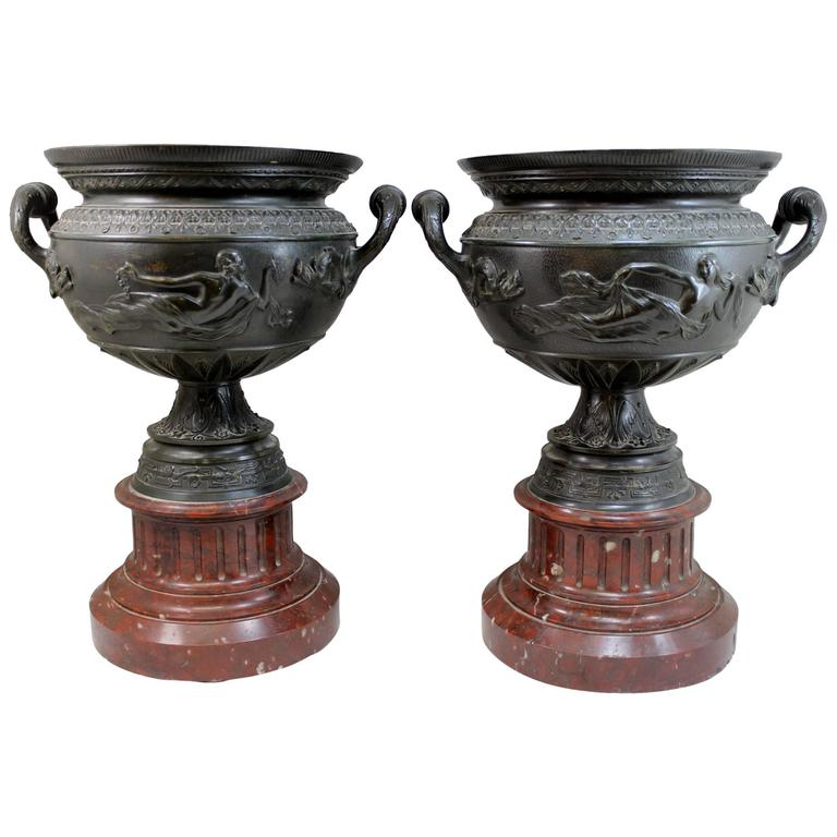 Pair of 19th Century French Bronze Handled Urns with Marble Plinths