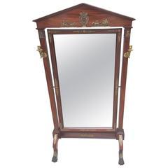 Wonderful French Regency Empire Mahogany Bronze Ormolu Cheval Dressing Mirror