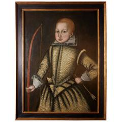 English Portrait of a Jacobean Boy with Bow and Arrow Early 17th Century
