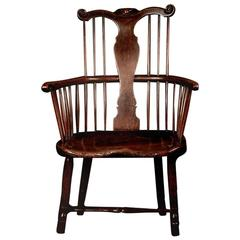 Very rare English Thames Valley fruitwood & elm Windsor chair early 18th century