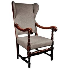 Original French Louis XIV walnut throne wing armchair, 18th century