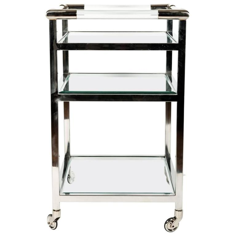 Mid Century Modern Wheeled Bar Cart With Glass Shelves At