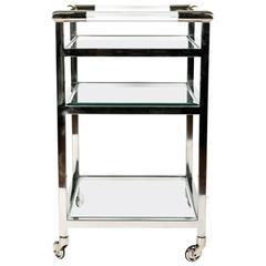Mid-Century Modern Wheeled Bar Cart with Glass Shelves