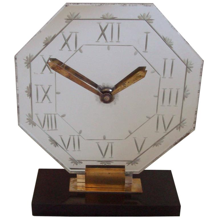 French Art Deco Chrome, Brass, Marble and Wheel-Cut Mirror Mantel Clock by Marti