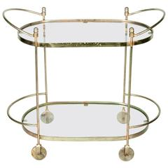 Mid-Century Solid Brass Two-Tier Tea Cart or Serving Table