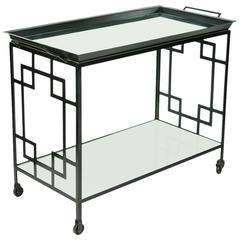 Mid-Century Black Metal Bar Cart/Serving Table