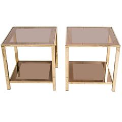 Pair of Two 23-Carat Gold-Plated Side Tables by Belgo Chrome