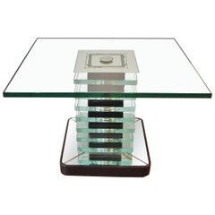 Modernist Glass, Mirror and Wood table, Fontana Arte, Italy, 1940