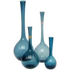 Four Swedish 1950s Blomglas Vases Designed by Arthur Percy for Gullaskruf