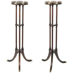 Antique American Pair of Pedestal/Stand Table