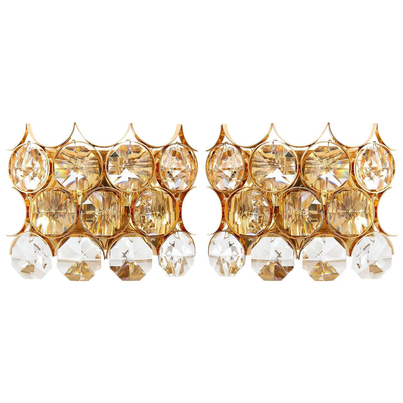 Large Palwa Sconces, Gilt Brass and Crystal Glass, 1970