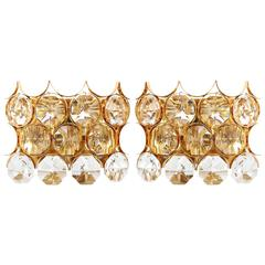 Large Palwa Sconces, Gilt Brass and Crystal Glass, 1970