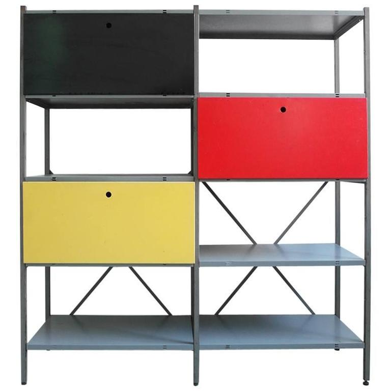 colorful industrial metal storage cabinet by wim rietveld for gispen 1