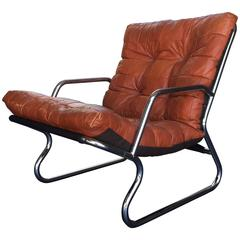 Danish Patchwork Leather Lounge Chair