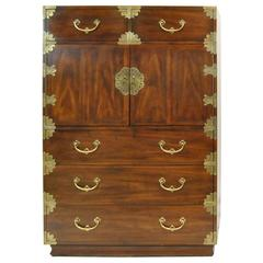 Tall Mahogany Gentlemen's Chest with Asian Campaign Styling by Henredon