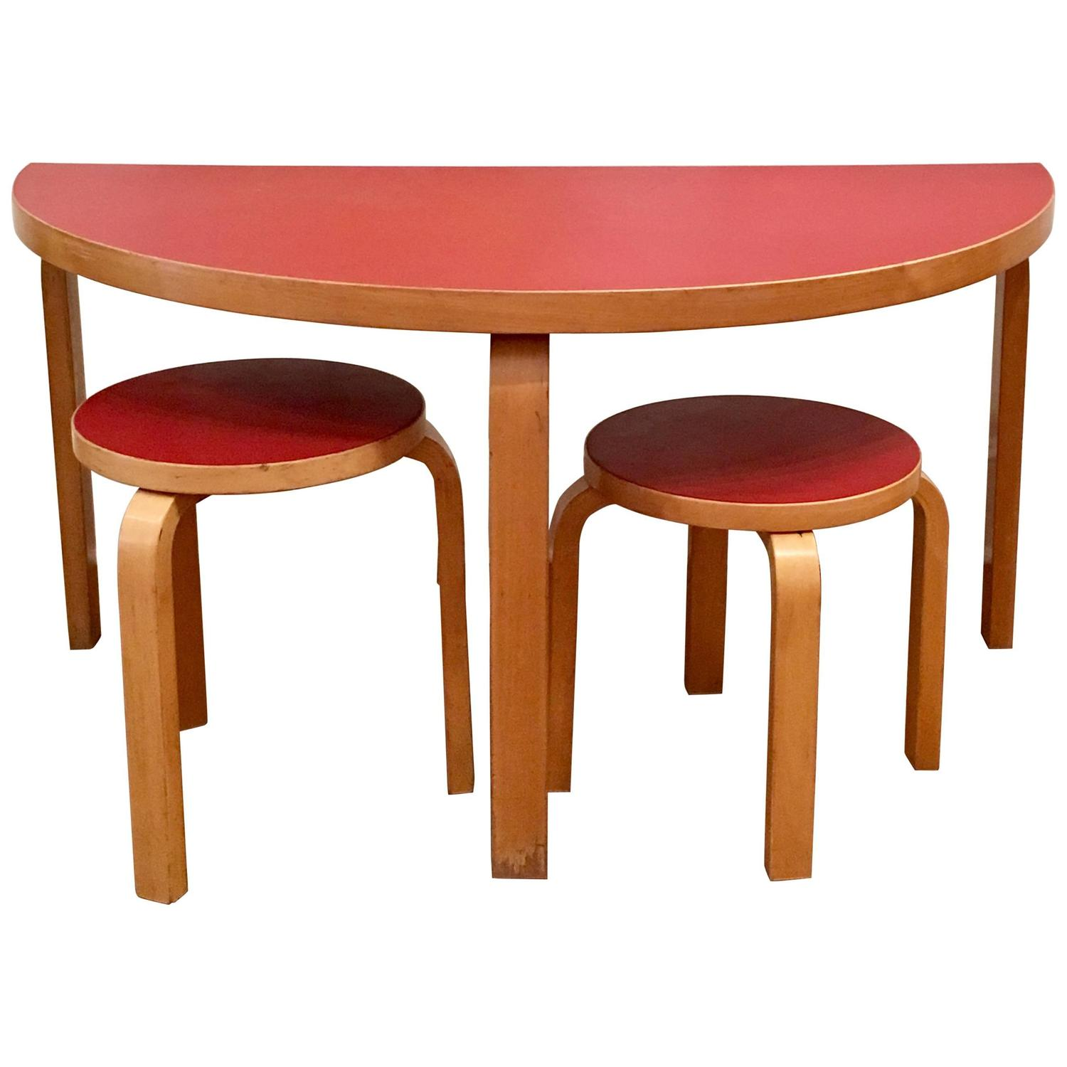 Alvar aalto for artek semicircular table and two stools at 1stdibs geotapseo Gallery