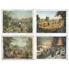 19th Century Wall Chart, Four Seasons, G. Schweisinger, 1885