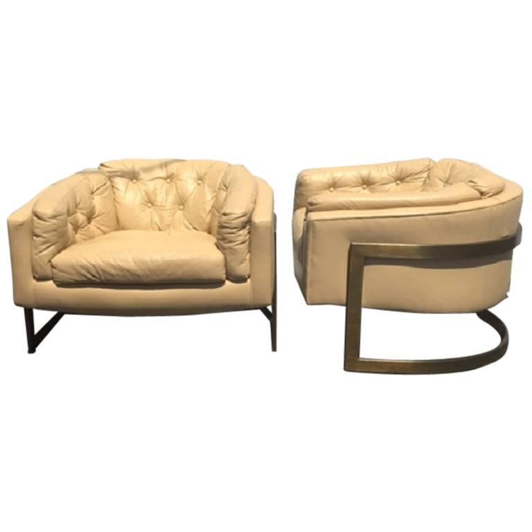 Large Bronze and Leather Lounge Chairs