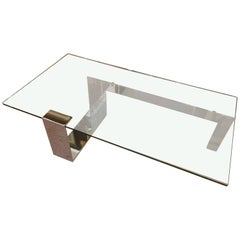 Sleek and Sexy Mid-Century Modern Glass and Chrome Coffee Table