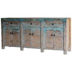 Vintage Chinese Six-Door, Three-Drawer Painted Buffet, circa 1900
