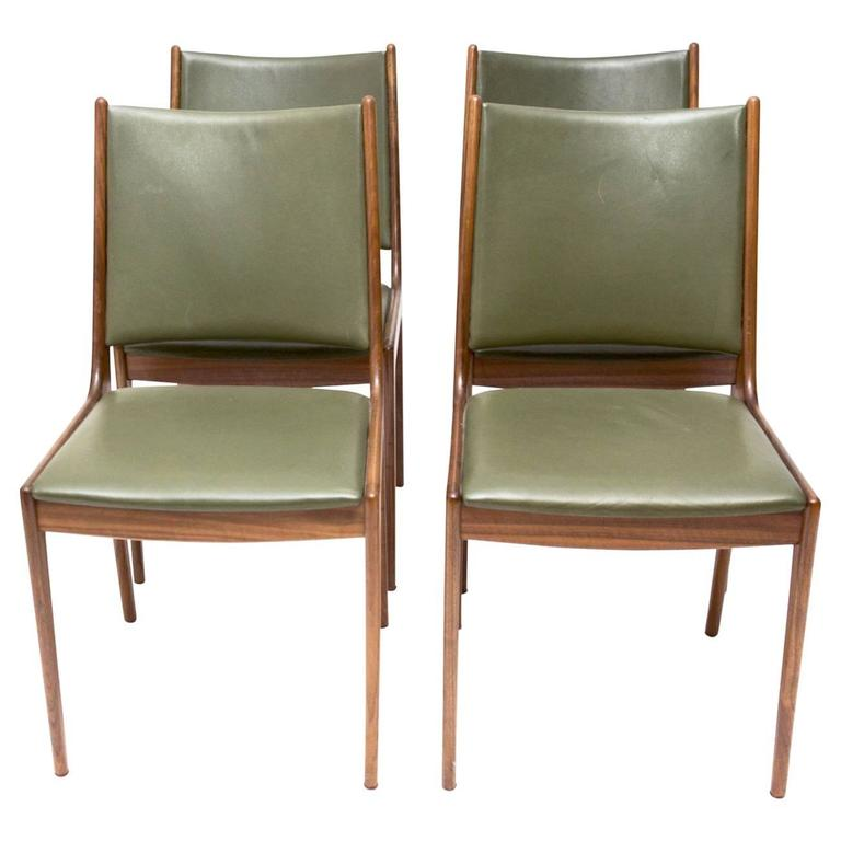 Johannes Andersen Teak Dining Chairs With Green Leather At