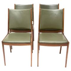 Johannes Andersen Teak Dining Chairs with Green Leather