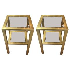 Fabulous Pair of French Brass and Glass Side Tables