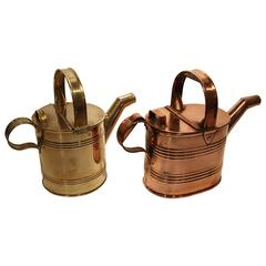 Brass and Copper Watering Cans, England, Late 19th Century