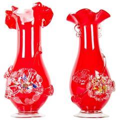 Mid-Century Pair of Murano Glass Decorative Vases