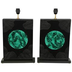 Pair of Lamps Black Resin and Malachite by Stan Usel