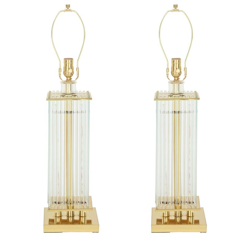 Sciolari Brass and Glass Rod Table Lamps